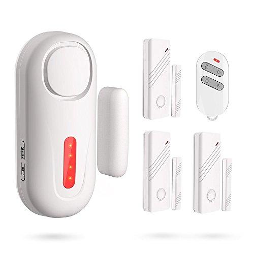 ERAY D2 Kit de Alarma Inalámbrico 120dB - 1 x Alarma de Puerta + 3 x Sensores de Puerta o Ventana + 1 x Mando a Distancia + Pila Incluida - Antirrobo para la Seguridad de Casa/Tienda/Oficina