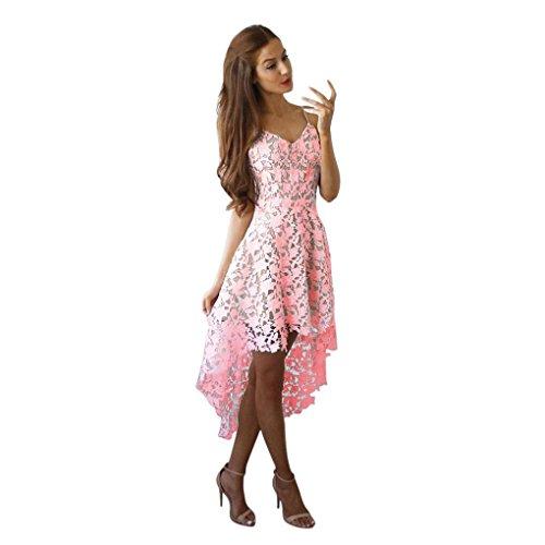 vestidos de mujer,Switchali mujer verano Floral encaje Sin mangasvestido Cuello en V Cóctel Formal Swing Irregular Vestir mujer asimétrico vestidos (Small, Rosado)