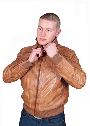Herren Gepaßte Bomber Lederjacke Designer weiche hochwertige Mantel George hellbraun - 3