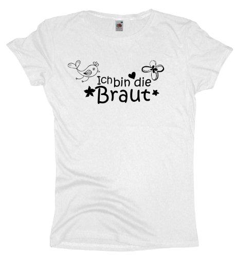 Ma2ca - JGA Ich bin die Braut - Girlie Damen Jungesellenabschied T-Shirt -white-xxl