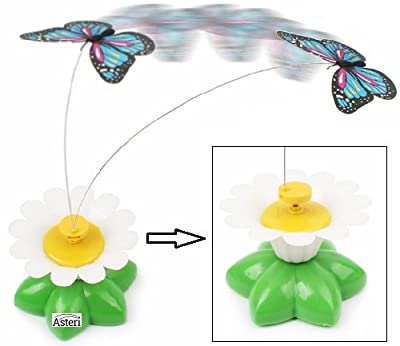 Kitten Toy Interactive Dangling Fluttering Butterfly Steel Wire Flower Shaped Base Teaser Play Wand Exercise Stimulate Chase Game Helps to develop natural instincts to chase and hunt.