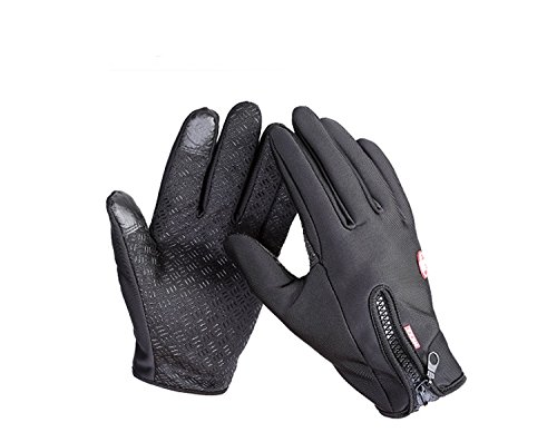 Touch Screen Gloves Black Outdoor Cold Weather Winter Sports Gloves with Touch Sensitive Finger Tips by TRIXES