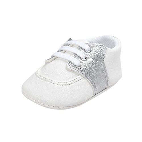Estamico,Chaussures premiers pas pour bébé garçon, sneakers bébé fille Argent