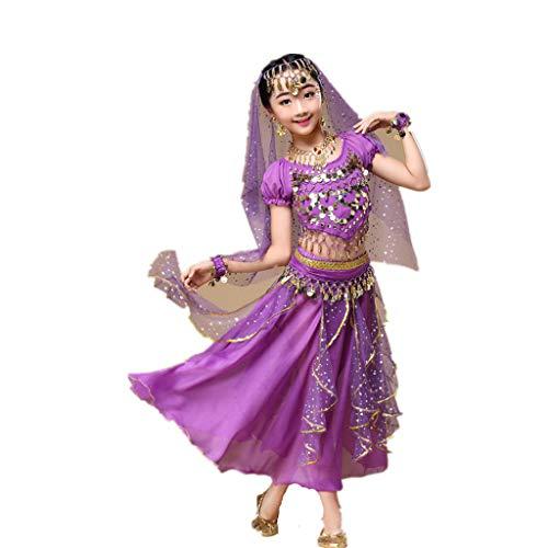 Amphia - Bauchtanzkostüm für Kinder (2er-Set) - Kindermädchen Bauchtanz Outfit Kostüm Indien Tanzkleidung Top + Rock