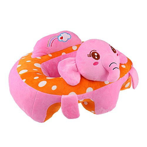 FITYLE Coton De Dessin Animé Bébé Siège De Siège Chaise Douce Coussin De Voiture Canapé Peluche Oreiller Jouet - Éléphant Rose