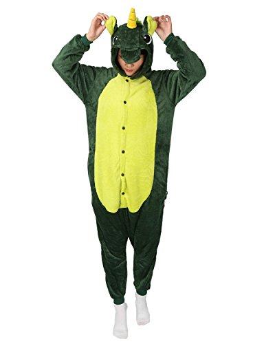 Tier Karton Kostüm Einhorn PyjamaTierkostüme Jumpsuit Erwachsene Schlafanzug Unisex Cosplay (XL(Höhe175-182CM), Grün Einhorn)