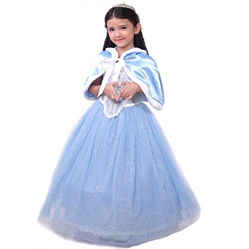D'amelie Prinzessin Kostüm Kinder Glanz Kleid Mädchen Weihnachten Verkleidung Karneval Rollenspiele Party Halloween Fest (120)
