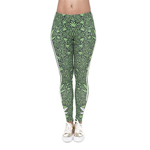 PFJWFE Neue 3D Print Leggings Mädchen Kausal Green Leaf Streifen Sexy Dünne Tayt Fitness