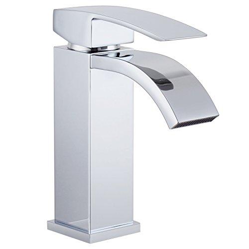 Galvanik Galvanik Retro Retro Wasserhahn Wasserhahn KES L 3109 einen einzigen Griff Wasserfall Bad Waschbecken Wasserhahn mit Extra großer rechteckiger Auslauf, Chrom, Nickel (Kes Bad Einzigen Wasserhahn)