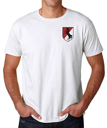 US Army 11th Armoured Cavalry Embroidered Logo - Ringspun Cotton T Shirt By Military online (Airborne T-shirt 11th)