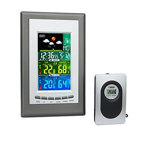 DXNSPF Multifunctional Weather Forecast Station Temperature,Wireless Digital Wecker Wetterstation Lcd Bildschirm Temperatur/Luftfeuchtigkeit/Für Indoor