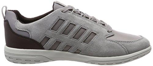Geox Herren U Mansel A Sneaker Grau (Lt Grey/Dk Burgundy)