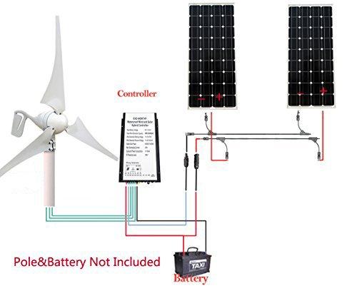 ECO-WORTHY 12 V/24 V 600 W Vent - Kit hybride solaire qui...