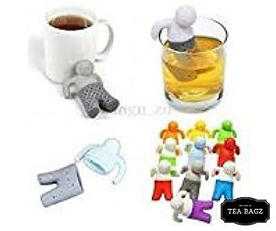 TEA-BAGZ/ Lot de 2 Infuseur de Thé en forme de Mister T /En forme d' Homme Relax Bi-Color / Idéal pour une infusion Bio/Tisane/Thé vert/ Thé noir/ Accessoires Home et Cuisine/ Diffuseur à Thé Original/ Diffuseur à Thé de Haute Qualité / Diffuseur de thé 1