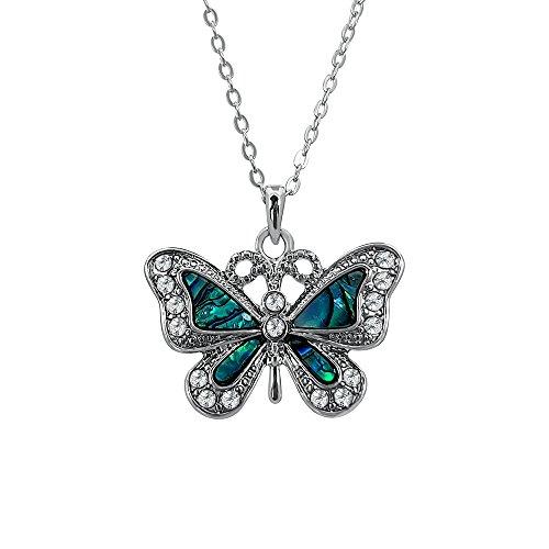 terling Anhänger Halskette mit natürlichen grünlichen blau intarsiert Paua Abalone Shell und verziert Flügel auf 45,7cm Trace Kette. Nicht trüben Silber Farbe Rhodium vergoldet. (Eine Kultur Ist Nicht Ein Kostüm)