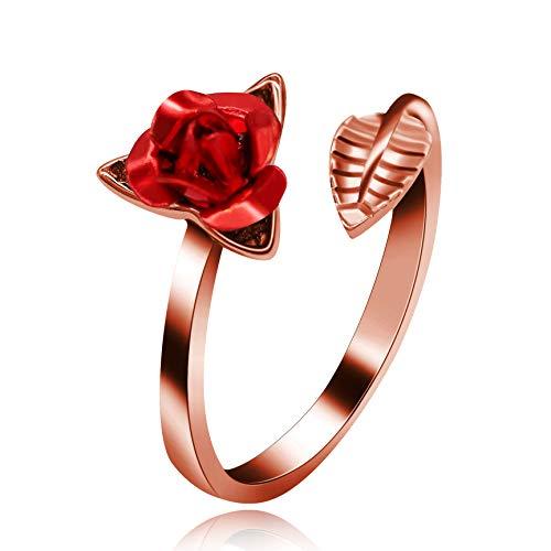 Uloveido Frauen Rose Gold überzogene rote Rose Blume Ring einstellbar offener Schwanz Ringe Hochzeit Versprechen Schmuck Valentinstag Geschenke für Mädchen oder Freundin Y456-Rose Gold