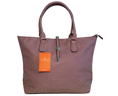 Borsa donna David Jones in ecopelle modello shopper con piccole borchie - rosa