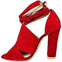 8041c8bfc Minetom Sandalias Mujeres Verano Sandals Peep Toe Zapatos De Playa Moda  Casual Elegante Shoes Tacones Altos
