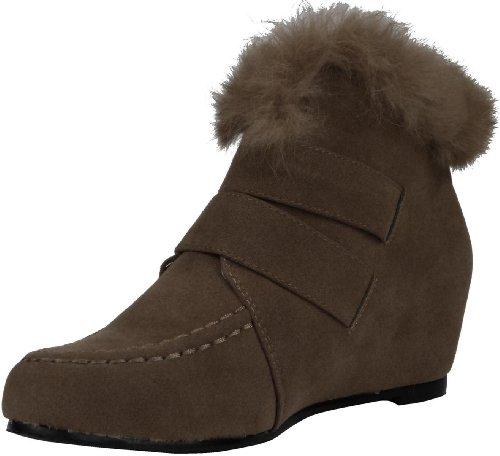Damen Keilabsatz Wedge Absatz Stiefeletten Keil Boots Herbst Frühjar Sommer Stiefeletten Khaki