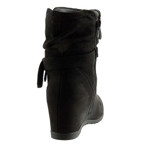 Angkorly - Scarpe da Moda Stivaletti - Scarponcini flessibile donna nodo tanga Tacco zeppa 7 CM Nero