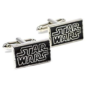 Star Wars Logo Manschettenknöpfe – Schwarz Neuheit-Manschettenknöpfe mit Silber Schriftzug