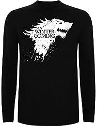 Camiseta Manga Larga de Hombre Juego de Tronos Stark Lanister Targaryen Jon Nieve Arya Coming