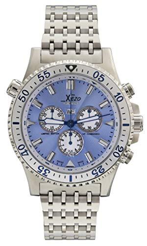 Xezo D45-SB Air Commando Herren-Armbanduhr, Schweizer Quartz Piloten Taucher Chronograph Uhr, Einheitsgröße