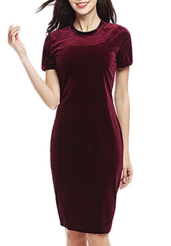 Mesdames Robes D'Été Manches Courtes Mi Longues Classiques Fashion Chic Robes Rétro Robes Chic Bordeaux