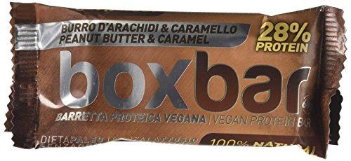 BoxBar Barretta Iperproteica Vegana, con 28% di Proteine senza Glutine e senza Lattosio - Confezione da 12 Unità - Burro d'Arachidi e Caramello