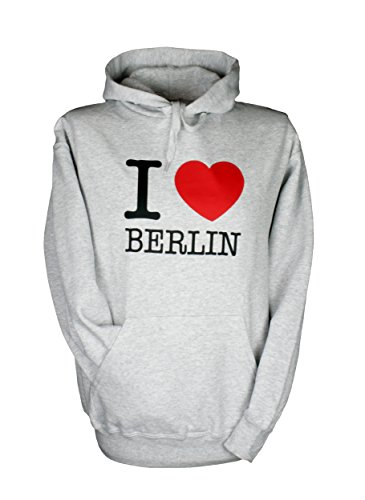 shirt-side gmbh Kapu Sweatshirt * I Love Berlin * Grau S bis XXL (L)