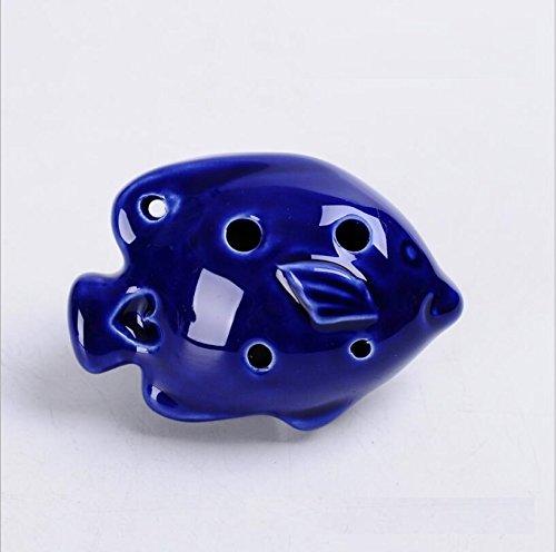 Baby- und Kleinkindspielzeug Kreative 6-Loch-Ocarina-Musikinstrumente Handcrafts Decorations Fashion Ornaments (Farbe : Royal Blue Fish, Größe : 7cm)