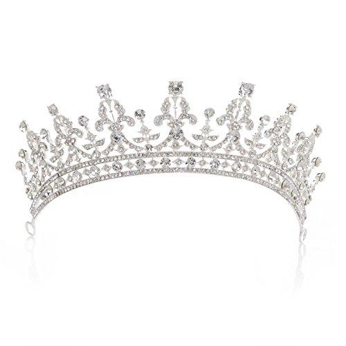 SWEETV Prinzessin Tiara Strass Hochzeit Krone Braut Diadem mit Kristalle, Silber (Damen Tiara)