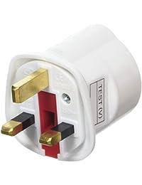 Amos Schuko Style Socket European 2-Pin to UK 3-Pin AC Mains Power Travel Visitor Adaptor - White
