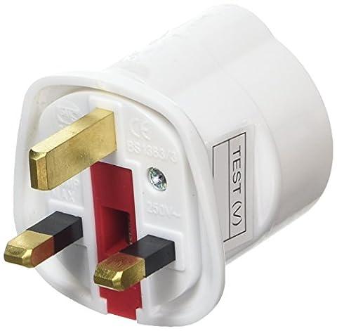 AMOS Schuko Shuko Style Socket EU Euro European 2-Pin to UK 3-Pin AC Mains Power Travel Visitor Adaptor Adapter Converter Power Plug (White) by AMOS