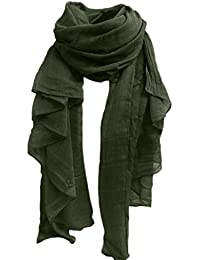 Sanwood® Women's Cotton Linen Wrap Scarf Shawl Solid Color Stole