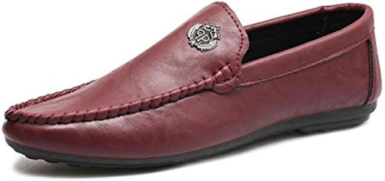 GRRONG Zapatos Ocasionales De Cuero Suaves Transpirables Rojos De Los Hombres