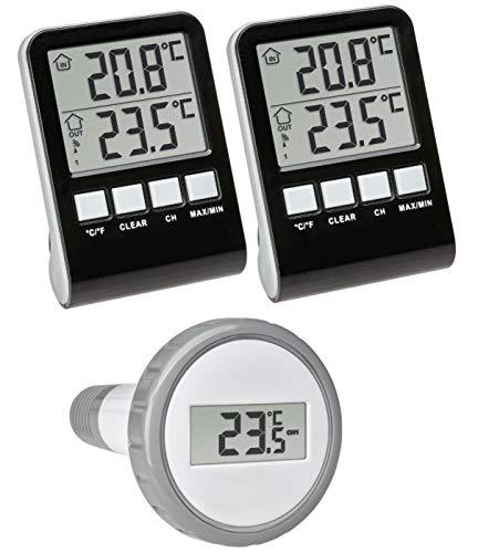 TFA Dostmann 30.3067.10.99 Palma Mega Funk-Poolthermometer mit 2 Display