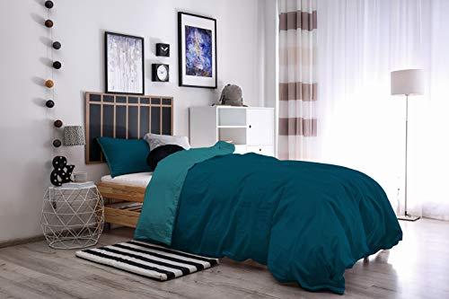 Copripiumino 250 X 215.Italian Bed Linen Natural Color Parure Copripiumino Con Sacco E Federa 100 Cotone Petrolio Verde Bottiglia A Una Piazza E Mezza 200 X 200 Cm 2