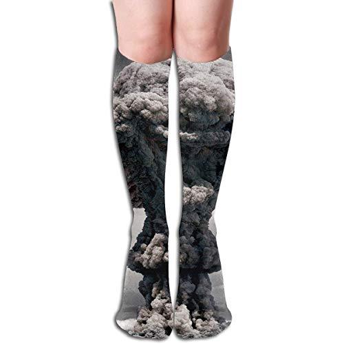 Zcfhike Tube Knee High Socks Atomic Bomb Cloud Mushroom Men's Over-The-Calf Tube Sports Socks Extra Long Compression Stocking -