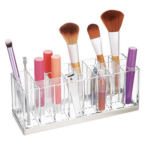 mDesign Rangement Maquillage Pratique – boîte à Maquillage déco pour Vernis à Ongles et Rouge à lèvres – présentoir Make up à 24 Compartiments – Transparent et argenté