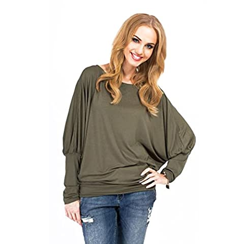 Batwing Long Sleeve ICOCOPRO Ladies Women Off Shoulder Pullover Baggy Plain Loose Tunic Top- Green L