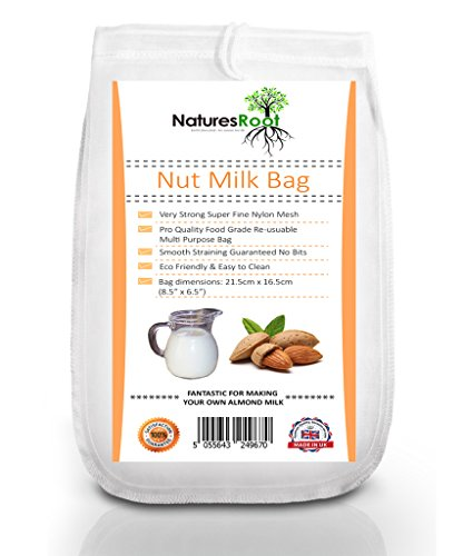 Natures Root Nut Milk Bag - Handelsübliche | Wiederverwendbare Beutel Almond Milk Allzweck-Filter | Fine Mesh Nylon cheesecloth & Cold Brew Filter Kaffeemaschine Filter für Cashew/Fruchtsäften, Milch, Tee, Kaffee und |, waschbar, wiederverwendbar -
