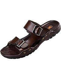 77ce85e7b356 DianShaoA Réglable Grande Taille Véritable en Cuir Plage Sandales pour  Hommes Ouvert Toe Piscine Chaussures Randonnée