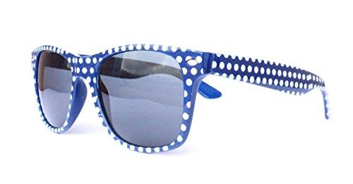 o Vintage Sonnenbrille Sommerbrille Clubmaster Style Rockabilly Trend 2017 2018 Mode Fashion Fashionbrille Beach Club Designer Brille punkte blau ()
