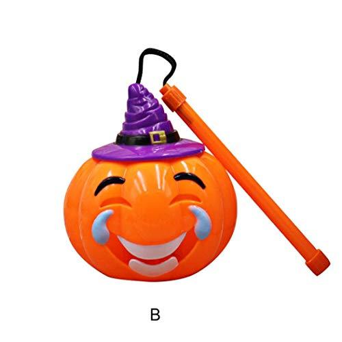 en KüRbis, KüRbis Laterne Windlicht Mit Gruseliger Fratze Halloweendekoration Herbstdekoration LED Teelicht Beleuchtung (C) ()