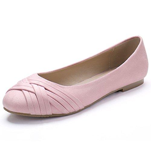 Allegra K Damen Kreuz-Riemen Rund Kopf Elegant Ballet flache Schuhe Ballettschuhe, Pink, EU 36.5
