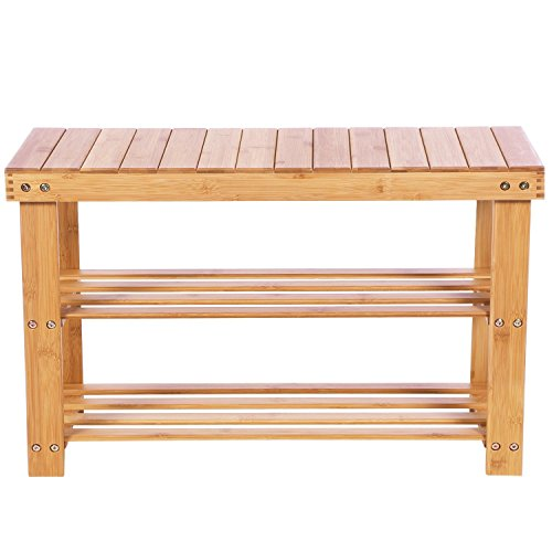 Wooden-Life Bambus Schuhschrank Sitzbank Schuhregal Schuhbank Badregal Bambusregal 3 Ablage- 70 x 45...