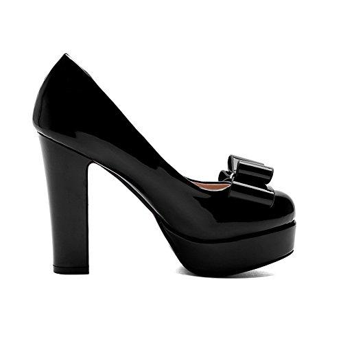 VogueZone009 Femme Rond à Talon Haut Couleur Unie Tire Chaussures Légeres Noir