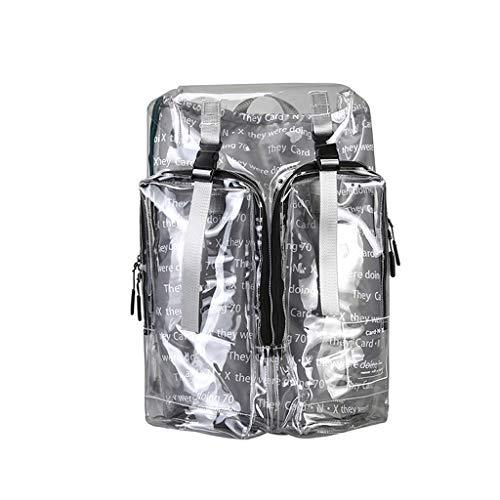 Rucksack Damen Hffan Transparent PVC Rucksack Schulrucksack, durchsichtige Bibliothekstasche Studenten Backpack Uni Bibbag, klare wasserdichte Schultasche Schoolbag für Schüler Mädchen Damen