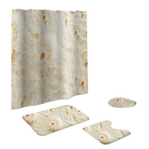 jieGREAT ❤❃ Räumungsverkauf❤❃ ,4PCS Non Slip Toilette Polyester Cover Mat Set Bad Duschvorhang - Kleid Duschvorhang